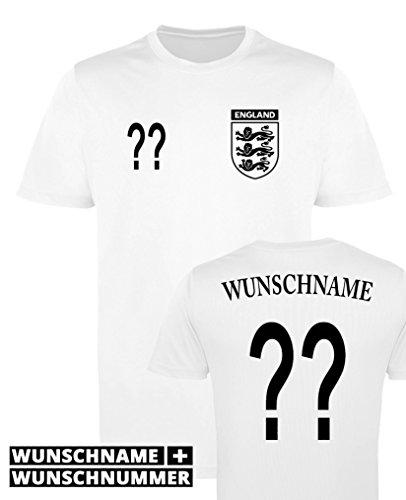 Comedy-Shirts - Maillot de football à col rond pour homme - Personnalisable - Angleterre - Différentes couleurs et dimensions L WUNSCH   Weiss-Schwarz