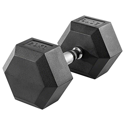 Sport-Tec Hex Kompakthantel aus Gummi, 20 kg, Hexagon-Hantel