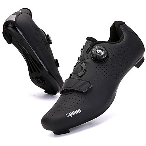 KUXUAN Zapatillas de Ciclismo para Hombre Zapatillas de Bicicleta de Carretera para Mujer con SPD,Zapatos Peloton Unisex con Hebilla Delta Compatibles,Black-4UK=(235mm)=37EU