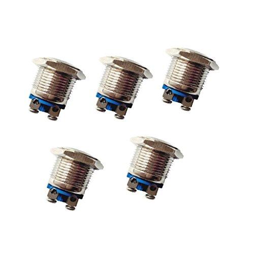 Homyl Interrupteur à Réarmement Automatique Bouton-Poussoir Étanche Arrêt 16 mm - Silver Contact-5 Pack
