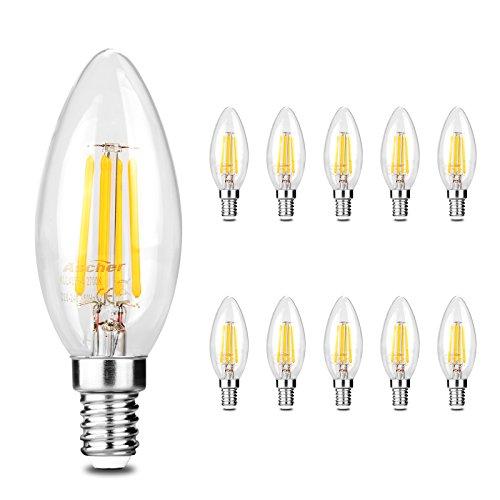 Ascher 10er Pack LED Lampe E14 Retrofit Classic, LED Birne als Kolbenlampe, Klar, Nicht Dimmbar, 40W Entspricht Glühlampe, 420LM, Warmweiß 2700K