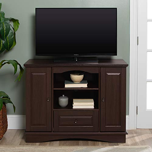 """Walker Edison Tall Traditional Wood Universal Stand with Cabinet Doors and Open TV's up to 48"""" Living Room Storage Shelves Entertainment Center, 42 Inch, Espresso"""