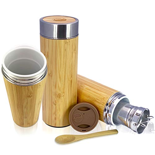 Bamboo Ceramic Tea Mug Tumbler - With Custom Silicone Travel Lid and Leak Resistant Lid, Infuser, and Bamboo Spoon. Termo De Ceramica Para Viaje | 1 CUP / 10OZ Capacity | By Taste The Earth
