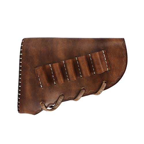TOURBON Leather Recoil Pad Buttstock Sleeve Shotgun Cheek Rest with 5 Round Ammo Carrier Holder