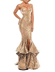 Champagne Sequin Prom Gown Mermaid Bodycon Dress