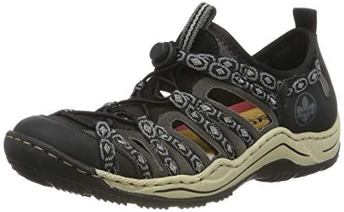 Rieker Damen L0583-02 Sneaker, Schwarz (Schwarz/Schwarz/Schwarz-Grau/Rauch 02), 39 EU