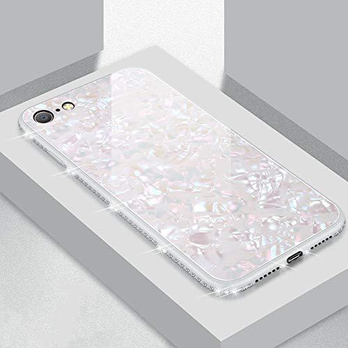 UEEBAI Hülle für iPhone 6 Plus 6S Plus, Muschel Design Handyhülle Ultra Slim mit Eingelegt Glitzer Diamant Strass Gehärtetes Glas Zurück Abdeckung Flexible TPU Bumper Case Anti Kratzer Frauen - Weiß