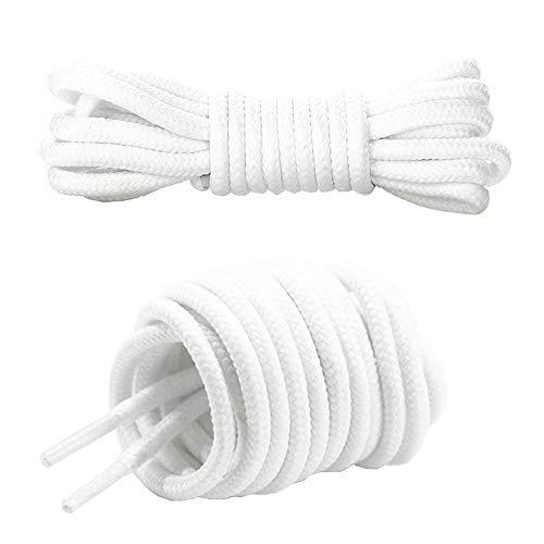 Canwn Cordones Redondos, [3 Pares] Cordones Resistente y Duraderos para Zapatos, Zapatillas de Deporte y Botas - 4 mm Diámetro – Blanco