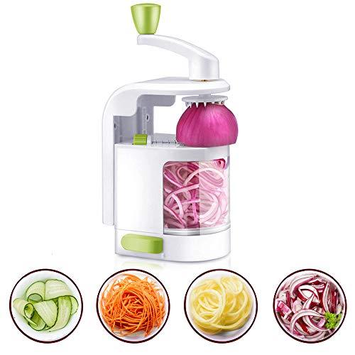 Spiralizer Trancheur Multi-fonction, Spirale de Légumes à 4 Lames, Spiraliseur Végétarien Robuste avec Ventouse Forte, Parfait pour Spaghettis Vermicelles, Maker pour Healthy Low Carb