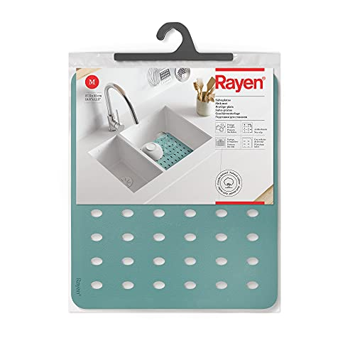 Rayen Salvaplatos M | Protege la vajilla | Co Orificios de Drenaje | Proteje el Fregadero |Antedeslizante | Dimensiones Colore, Verde Agua, Medidas: 27,5 x 32 cm