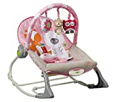 INFANTSO Baby Rocker & Bouncer Foldable, Portable with Calming Vibrations & Toy (Pink)