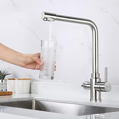 KAIBOR 3 Wege Wasserhahn Küche Edelstahl 304 Höhe 34cm, 360°drehbar Küchenarmatur spültischarmatur für Wasserfilter, Trinkwasserhahn mit 2 Hebel gebürstet matt