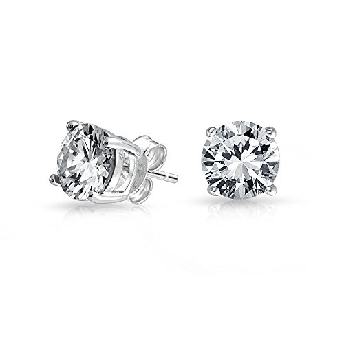 NYC Sterling Unisex Princess Cubic Zirconia Screw Back Stud Earring 3 to 8 MM