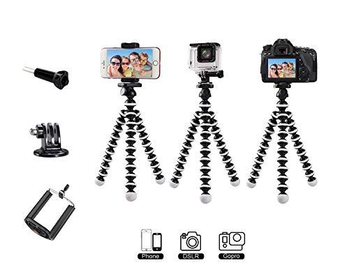 """Micros2u - Trípode portátil flexible para pulpo de 1/4"""" para cámaras réflex digitales sin espejo, placa de liberación rápida para Gopro, ActionCams + soporte para teléfono móvil, iPhone, Samsung, Sony"""