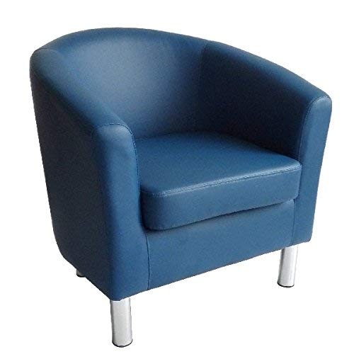 Designer Leather Tub Chair Armchair for Dining Living Room Office Reception (Royal Blue)
