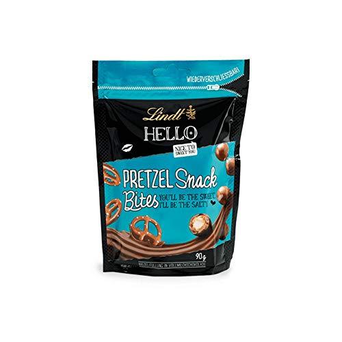 Lindt HELLO Pretzel Snack Bites, Vollmilchschokolade mit Brezel-Füllung, 4er Pack (4 x 90 g)