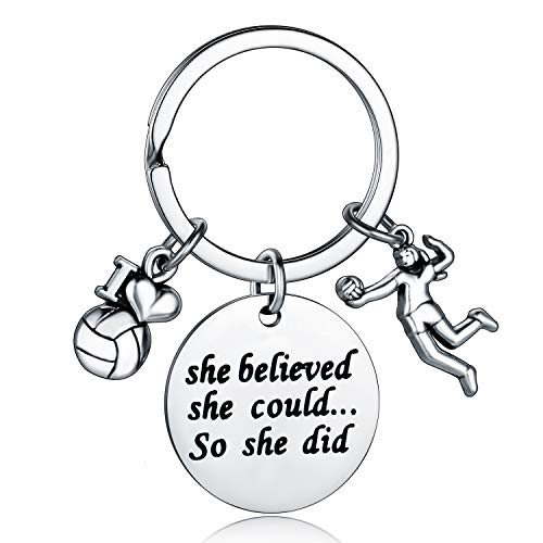 Volleyball Player Gift Volleyball Team Gifts She Believed She Could So She Did Volleyball Gifts for Girls Women Volleyball Coach Gift (Volleyball Keychain)