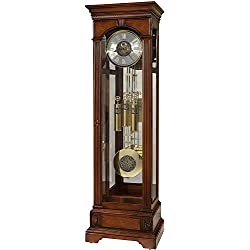 Howard Miller Alford Floor Clock 611-224 – Lightly Distressed Hampton Cherry Grandfather Decor, Illuminated Case & Cable-Driven, Single-Chime Movement