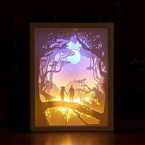 Luz de Noche LED 0.8W lámpara de Papel Tallada lámpara de Libro de Escritorio Pareja romántica Foto fram