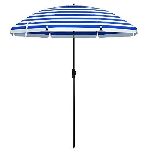 SONGMICS Sonnenschirm für Strand, Ø 160 cm, Gartenschirm, UV-Schutz bis UPF 50+, knickbar, tragbar, Schirmrippen aus Glasfaser, blau-weiß gestreift GPU60WU