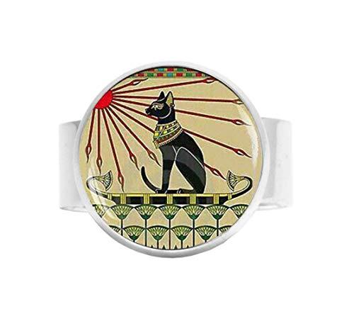 Joyería de gato egipcio, joyería de gato Art Nouveau, anillo de amul