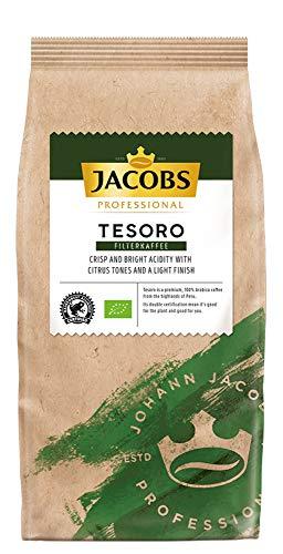 Jacobs Professional Tesoro Filterkaffee, 1kg, gemahlen, angenehm leichter Geschmack, ausbalanciert, 100% Arabica, Bio- und Rainforest Alliance zertifiziert