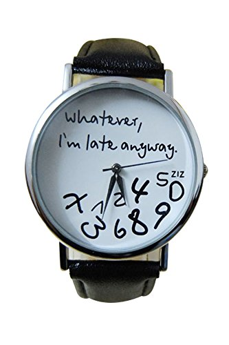 MingXiao Orologio da Donna in Bianco e Nero Lady Whatever I'm Late Anyway Leather Watch Bangle