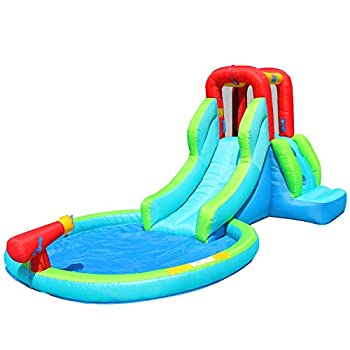 ACTION AIR Inflatable Waterslide Bouncy House for Both Wet and Dry Kids Waterpark with Slide for Outdoor Fun Splash Pool & Water Gun Extra Thick Material and Durable Ideal for Kids  AM0452