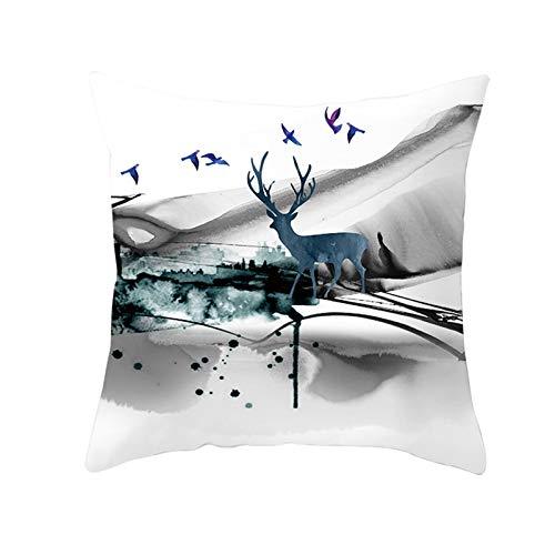 Aimsie Funda de cojín de Navidad, diseño de ciervos, color blanco y gris, 40 x 40 cm