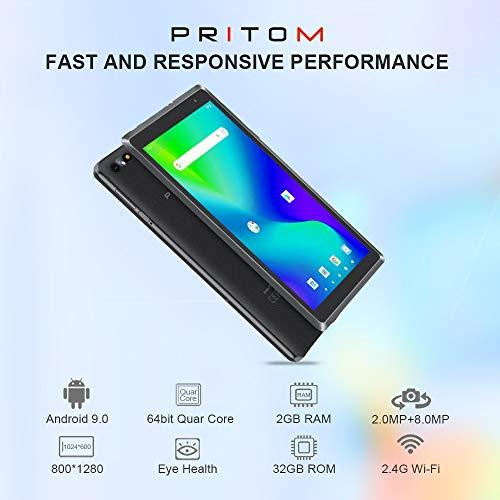 Android Tablet Pritom 8 Zoll Android 9.0 OS Tablet, 2 GB RAM, 32 GB ROM, Quad-Core-Prozessor, HD IPS-Bildschirm, 2.0 Front- und 8.0 MP-Rückfahrkamera, WLAN, Bluetooth, Tablet-PC (Schwarz)