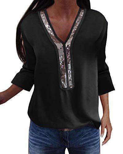 YOINS Sexy Schulterfrei Oberteil Damen Langarmshirt Elegant Glitzer Oberteile für Damen Pulli Bluse Bling Rundhals Aktualisierung-Z-schwarz XXL
