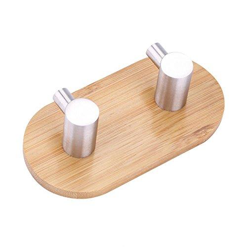 Colgador - Colgador de Pared de Acero Inoxidable de bambú Natural Gancho Bolsa Llavero Colgador de Toalla Cocina Baño(2)