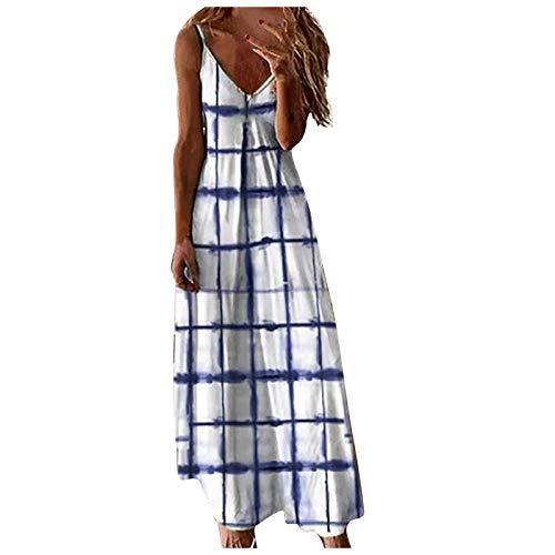Vestido Mujer Casual Largo Sexy Vestido Boho Floral Maxi con Cuello en V de Playa Verano Vestido,Vestido para Verano Largos Tie Dye Vestido Falda Larga