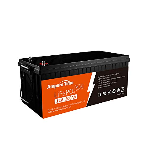 Ampere Time 12V 300Ah Lithium-Eisenphosphat LiFePO4 Deep Cycle Batterie, Built-in 200A BMS, 4000+ Zyklen, maximal 400 Ampere, perfekt für Wohnmobile, Solar, Marine, Overland, Off-Grid usw…