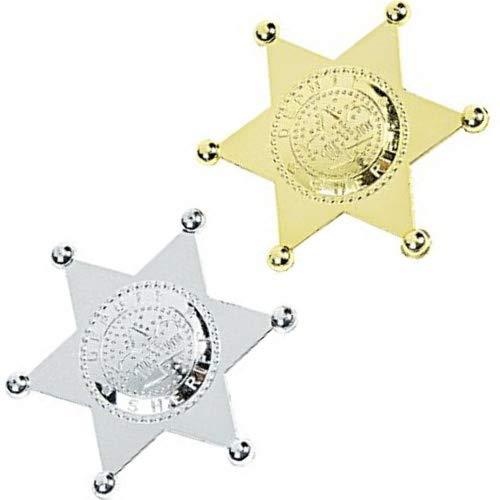 Mottofuchs 2 x Sheriffstern Sheriff Gold + Silber Indianer Cowboy Polizei Stern Mitgebsel Fasching