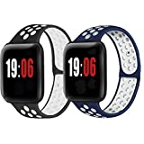 DGJTA (2 pieces) compatible with Apple Watch 38mm, 40mm, 42mm, 44mm strap, suitable for Apple series 6/5/4/3/2/1 / SE / Nike+ men's and women's sports watch strap 20mm/22mm, smart watch quick replacement, breathable, fashionable, trendy, lightweight and soft Silicone strap