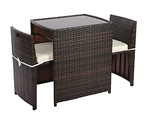 Garden Furniture Bistro Set 2 Seater, Rattan Coffee Table Chairs Set, Space Saving Patio Table with 2 Chairs - Fit for Outdoor Small Balcony Bistro Front Porch Yard