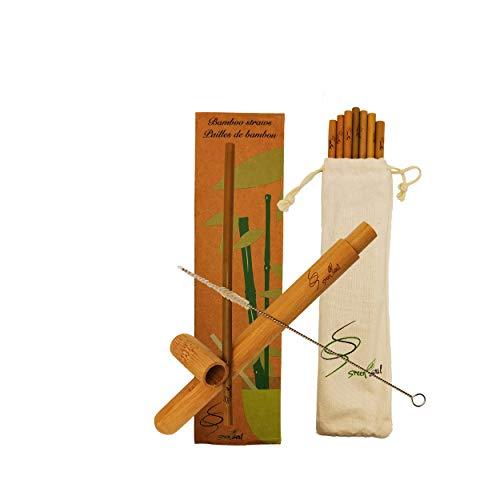 Green Soul Cannucce di bambù fatte a mano. Zero rifiuti, ecologico, biodegradabile, trasportabile e protetto nella sua cassa di legno. Idea regalo.