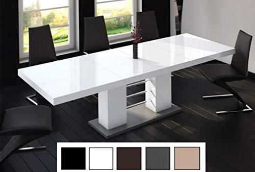 Design Esstisch Tisch HE-111 Weiß - Grau Hochglanz ausziehbar 160 bis 260 cm