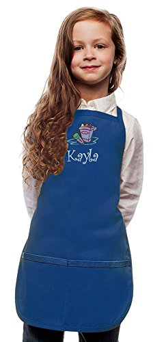 My Little Doc Personalized Royal Blue Kids Art Smock Crayons Embroidery Design (Extra Large 8 to 12 Years)