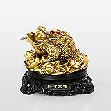 DGHJK Feng Shui Or Argent Grenouille pièce Crapaud Charme Chinois de la prospérité décoration de la Maison idée Cadeau pour Bureau Ordinateur Livre/étagère de télévision et Affichage de la Zone d'enr