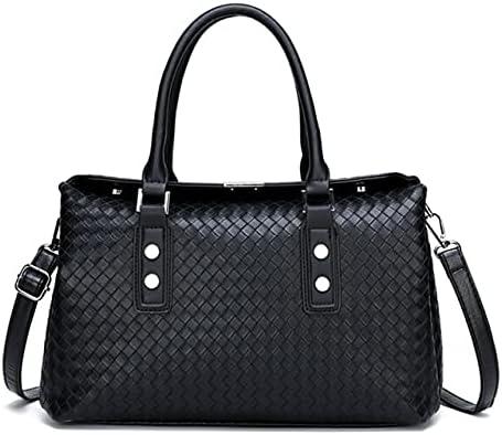 حقائب يد علوية - حقائب يد نسائية فاخرة من جلد البولي يوريثان حقائب كتف ذات سعة كبيرة مصمم للسيدات حقائب كروسبودي للنساء حقيبة حمل عادية (سوداء 35X15X20CM)