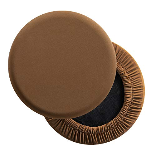 LUSHVIDA Round Bar Stool Covers - Super Soft and Washable Elastic Stool Cushion Slipcover for Dia.12-14' Chair, Set of 2