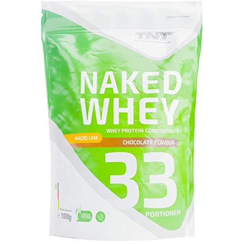 TNT Naked Whey + Laktase – 1kg Whey Protein Konzentrat – Eiweißpulver mit toller Löslichkeit & Geschmack – Proteinpulver (Schokolade)