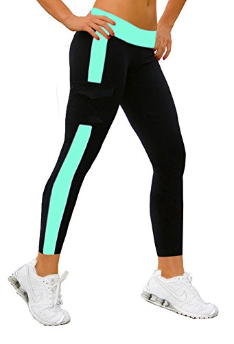 iloveSIA Damen Jeggings Sport Legging Sport Hose/Yoga Capri Hose Pants blau&Schwarz,Größe XL