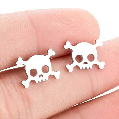 QWERBAM Pendientes del Cráneo del Punk Gótico Pirata For Chicas Cool Joyería Pendientes De La Vendimia Esqueleto Pendientes Piercing Oreja (Metal Color : Silver)