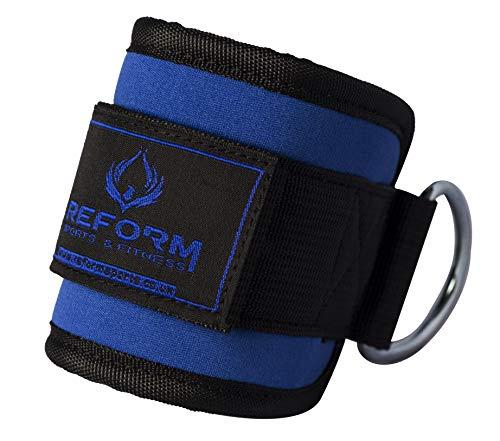 Reform Sports & Fitness - Correas de tobillo para máquinas de cable, par de pesas acolchadas para el tobillo con doble anillo en D (azul)