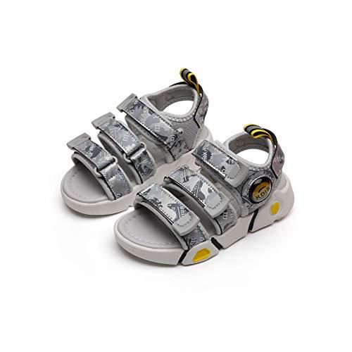 Sandalias De Niños Antideslizantes Resistentes A Los Zapatos De Playa para Niños Pequeños Zapatos De Agua De Verano para Niños para Exteriores Nuevas Sandalias(Size:27-17.3cm,Color:Gris)