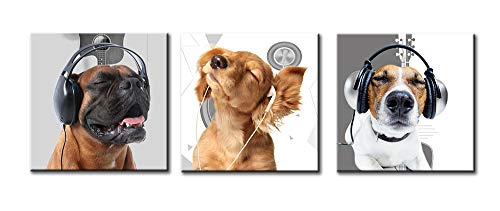 Dog Art - Cute Puppy Modern Animal World Headphones Earplugs Music Symbol Background Cool Painting Modern Artwork Prints on Canvas 16'' x 16'' x 3 Panel for Living Room Decor Stretched and Frame