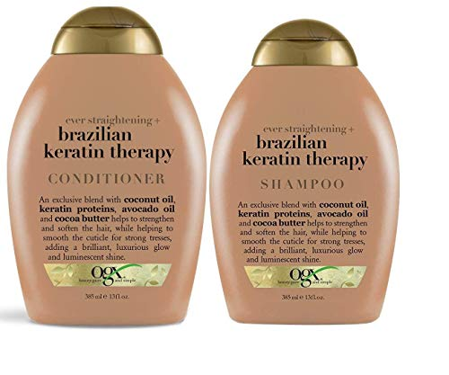 OGX Ever Straightening Brazilian Keratin Therapy Shampoo & Conditioner Combo |With Coconut Oil, Keratin Proteins, Avocado Oil & Cocoa Butter, For Dry, Curly, Frizzy & Fine hair, Sulfate Free Surfactants, No Parabens, 385 ml
